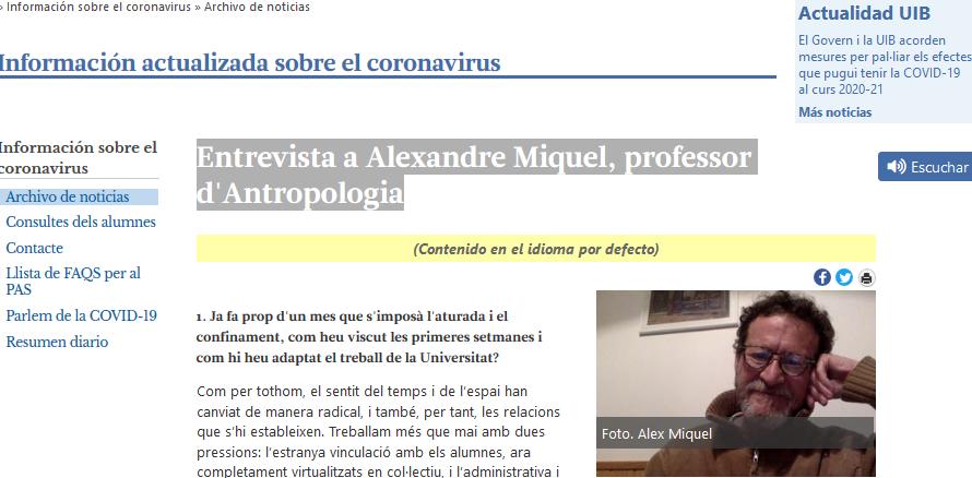 Entrevista a Alexandre Miquel, professor d'Antropologia